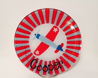 Hand Painted Airplane Plate - Made to Order