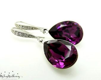 Purple Earrings Amethyst Earrings Swarovski crystal Purple Jewerly Bridesmaid Gift Bridal Earrings Dangle Earrings Wedding Jewelry