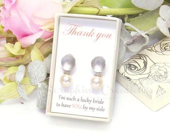 Bridesmaid Pearl Earrings, Wedding Jewelry, Swarovski Pearls Cubic Zirconia Wedding Earrings Classic Bridal Earrings Bridesmaid Gifts K149
