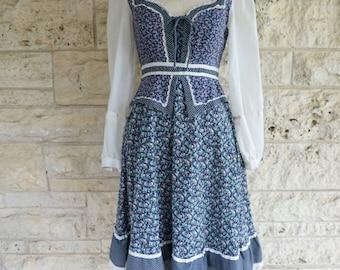Gunne Sax Dress Jessica McClintock 70's Peasant Dress Small Prairie Dress Size 4 or 5 Small Blue Floral Boho Steampunk dress
