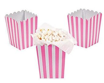 Candy Pink ~ Mini ~ Popcorn Box ~ Favor Box ~ Set of 6