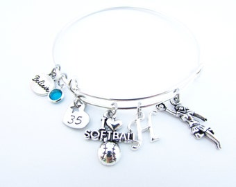 Softball Bracelet, Softball Jewelry, Softball Bangle, Softball Gifts, Softball Player, Gifts for Softball, Girls Softball Gift