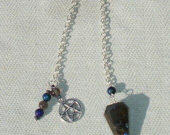 Handmade Labradorite & Mood Beaded Pentagram Pendulum