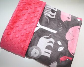 Baby Girl MINKY Blanket, Minky Baby Blanket, Animals Baby Blanket, Pink Jungle Tales Elephant Giraffe, Personalized Girl Baby Blanket