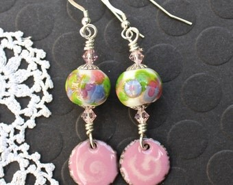 Enamel Earrings, Lampwork Beads, Pink floral, Dangle Earrings, Sterling Silver Earrings