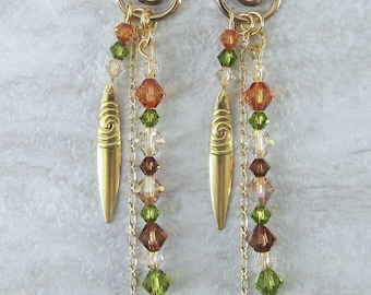Handmade gold tone swirl long earrings with tribal shield and Swarovski crystals in fall colors, green, brown, ready to ship, gifts for her