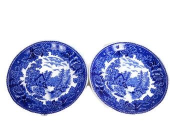 Vintage Arabia Saucers Blue and White Made in Holland Cobalt Blue and White Flow Blue Set of 2