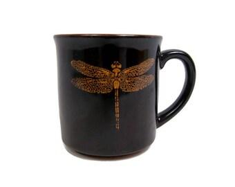 Vintage Dragonfly Coffee Mug Kotobuki Made In Japan Black Tea Mug Gold DesignTenmoku Dragonfly