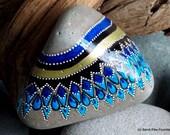 tribal rain /painted rocks / painted stones / paperweights / rock art / beach decor / tribal designs / rocks / stones