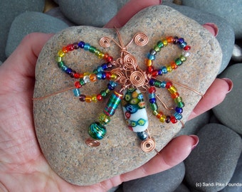 butterfly heart rock / heart stones / wire wrapped rocks / wire wrapped stones / gypsy / boho / hippie / home decor / rainbow /glass beads