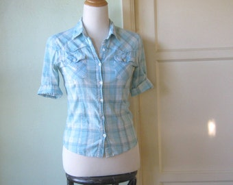 Light Blue Plaid Retro Western Shirt; XS-Small - Sky Blue/Turquoise Plaid Cowgirl Shirt -  Short Sleeve Western Cotton Shirt
