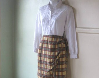 Women's Medium Burgundy/Gold/Forest Green Plaid Silk Wrap Skirt~Plaid Silk Knee Length Skirt; Free Shipping/U.S.