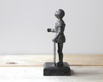 Vintage silver gray knight figurine mini desk statue / masculine man cave den decor / medieval inspired rustic home decor / knight in armor