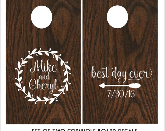 Rustic Wedding Decals Cornhole Board Decals Vinyl Decals Rustic Barn Wedding Decor Twig Wreath Arrow Trendy Wedding Decals Set of Two Decals