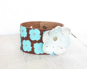 Leather Cuff Bracelet For Women | Gypsy Leather Bracelet |  | Painted  | Turquoise Cuff Bracelet  | Leather Jewelry | Womens Bracelet