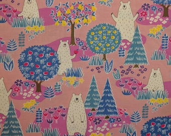 Japanese fabric by Cosmo - kawaii bears in cotton sheeting - 1/2 YD