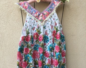 Floral Storybook Babydoll Style Top Rustic Romance Size Medium