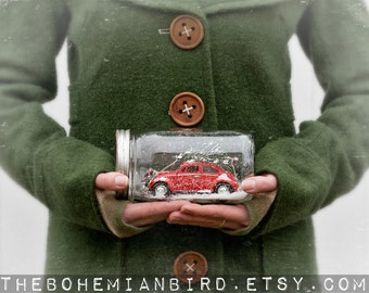Mason Jar Snow Globe VW Beetle - Red