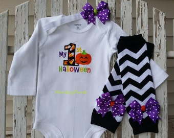 My First Halloween Outfit - Girls 1st Halloween Outfit -  Matching Leg Warmers - Boys or Girls Halloween Outfit