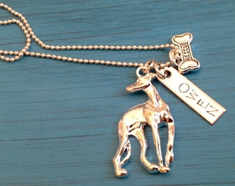New Greyhound Rescue Dog Necklace.  Custom, your greyhound's name.  Dog Memorial.  Greyhound Lover Gift