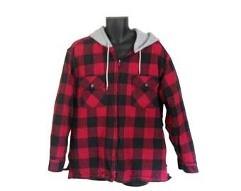 Red Flannel Shirt Hooded Flannel Men Flannel Shirt 90s Grunge Flannel Plaid Flannel Shirt 90s Grunge Shirt Hoodie Men Clothing Lumberjack