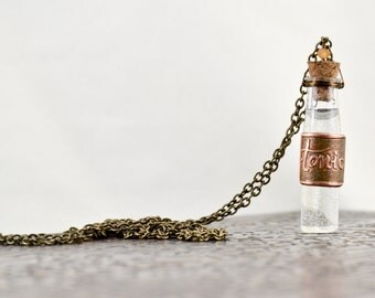 Handmade Copper Necklace- Bottle Necklace- Copper Etched- Vial Necklace- Copper Etched Necklace- Vessel Necklace- Glass Bottle- Hessonite