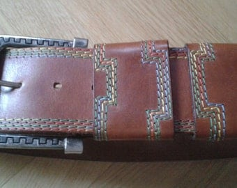 "1980s Vintage Sportswear '80 belt, woman WAIST Belt, tan leather with Multicolor stitching, size 26"" to 30"" - Genuine Leather Belt."