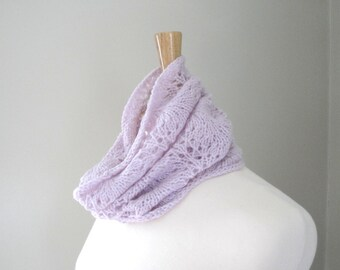 Lace Knit Cowl, Women's Pink Cowl, Hand Knit, Tube Scarf, Luxury Alpaca Wool, Office Scarf