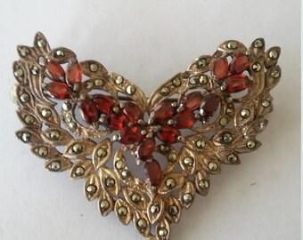 Gorgeous Art Deco Garnet Marcasite Heart Brooch