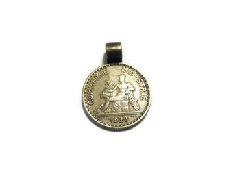 Antique Vintage 1923 Commerce Industrie 1 Franc Coin Pendant