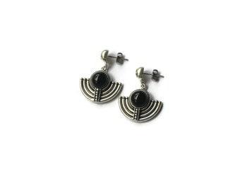 Vintage Boho Onyx & Sterling Silver Earrings