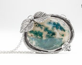 Green Moss Agate gemstone necklace in Sterling Silver with leaves flowers and twigs - Huge nature bohemian necklace - Valentine gift for her