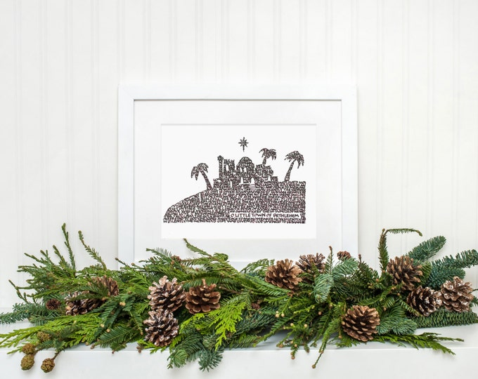 """O Little Town - A Limited Edition Print of a Hand-lettered Image Using the Carol """"O Little Town of Bethlehem"""""""