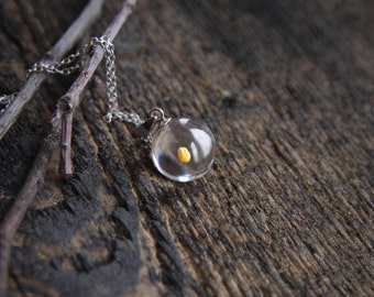 Tiny Mustard Seed necklace - delicate 925 Sterling silver jewelry - Faith Of A Mustard Seed charm - meaningful Christian Religious gifts