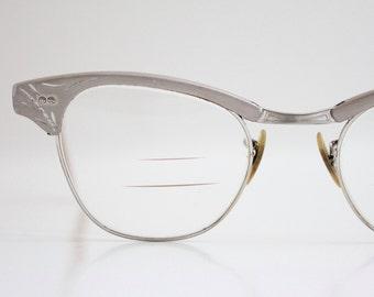 Vintage 50's 12k Silver Engraved Aluminum Cat Eye Eyeglasses