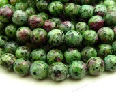 Ruby in Zoisite Faceted Gemstone Beads - 15.5 Inch Strand - 8mm Green and Cranberry Round Stone Beads - BB21