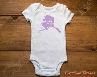 Locally Grown Alaska Onesie/ Toddler Locally Grown T-shirt ALL STATES AVAILABLE