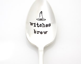 Witches Brew. Hand Stamped Halloween Spoon. Handstamped vintage silverware for Halloween Decor. Halloween Gift Idea with Witch's Hat.