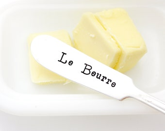 Le Beurre. French butter spreader. French Country kitchen decor. Hand Stamped silverware.