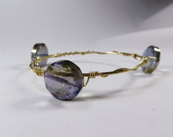 Purple Beaded Wire-Wrapped Bracelet -- Three Bead Chunky Bangle Stacked Gold Handmade Gift Gold Silver Copper
