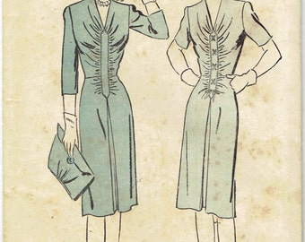Vintage 1940s Ruched Dress Pattern Advance 3183. FItted Dress with Center Ruching, Lace Up Front Band Option. Size 14 Bust 32