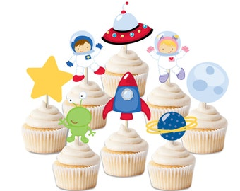 Space Astronaut Birthday cupcake toppers,  cupcake toppers,  alien birthday, Rocket party, galaxy birthday,space theme party, UFO decor