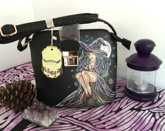 Hand-Painted Bag. Witches Shoulder Bag Plus PERSONALISED with Initial of Buyer's choice. Pagan Witch