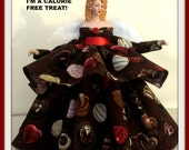 Angel Tree Topper, Chocolate Lovers TreeTop, Gift Angel for Chocolate Lover, OOAK Handmade Porcelain Tree Topper