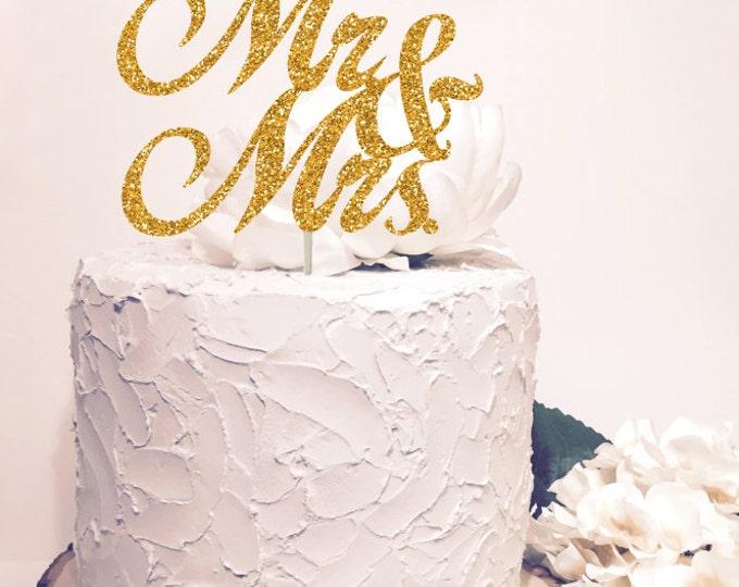 Mr & Mrs Cake Topper, Glitter  Sparkle Chic Wedding decor, Glitter gold both sides.
