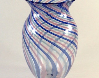 Hand Blown-Twisted Cane-Glass Vase