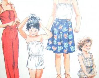 Vintage 1982 Girl's Size 5 Long / Short Jumpsuit Elastic or Shoulder ties Wrap Skirt