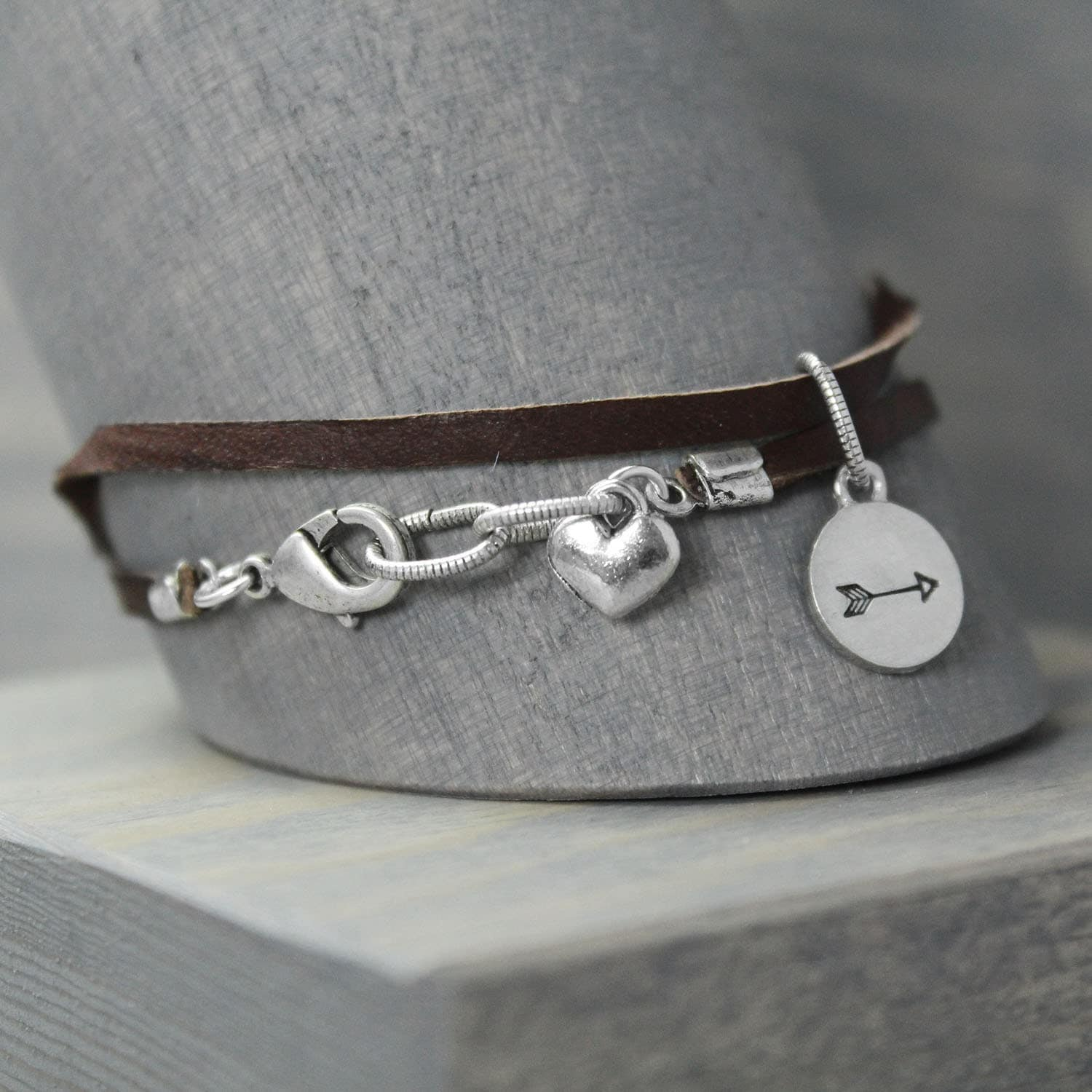 Leather Wrap Charm Bracelet: Leather Bracelet Wrap Bracelet Arrow Bracelet Leather Charm