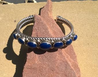 Seven Stone Lapis Bracelet from the 1990's