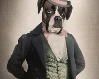Apollo, Boxer Dog Print, Anthropomorphic, Whimsical Dog Art, Unique Wall Art, Dog Wall Decor, Quirky Animal Art, Apollo Creed, Boxer Rocky